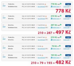 Cena jízdenky na vlak